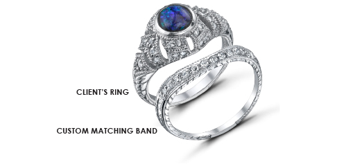 Custom Jewelry Design - Hand Engraved Matching Band